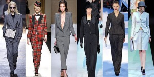 Designs by: 3.1 Phillip Lim, Moschino, Blumarine, Giorgio Armani, Christian Dior, Emporio Armani The most popular pantsuits seen on the runway were baggy throwback styles from the 80s and men's style--including the classic three-piece suit.